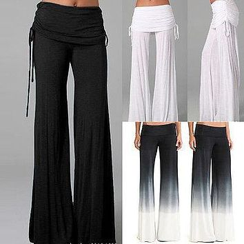 Women Ladies Trousers Solid Palazzo Dance Wide Leg Pleated High Waist Long Loose Pants