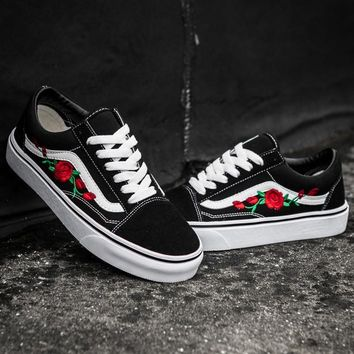 VANS Canvas Flower Embroidery Old Skool Flats Sneakers Sport Shoes