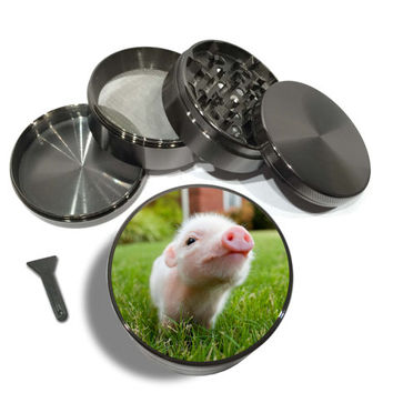 "Cute Teacup Piglet 4 Piece Silver Alumium or Zinc Metal Grinder 2.5"" Wide baby pig cutest animal pic ever pink snout"