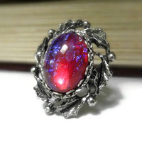 Vintage Ring Dragons Breath Opal Ring Vintage Jewelry Adjustable Ring Fire Opal Ring