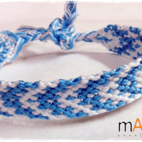 Light blue & white Macrame Knotted Friendship Bracelet - Woven Wristband - Made for a Cause