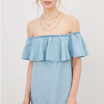 Light Blue Denim Flounced Collar Off Shoulder Dress
