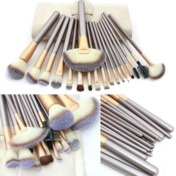 18 Pcs Professional Makeup Brushes Blush Eyeshadow Soft Cosmetic Set + Pouch Bag