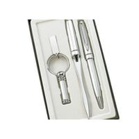 MG Gifts 3 Pcs Set Silver Bp Pen, Letter Opener & Key Ring With Gift Box