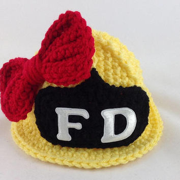Baby Girl Firefighter Hat in Yellow with Red Bow - Firefighter Baby Girl - Firefighter Baby Shower - Photography Prop - Baby Shower Gift