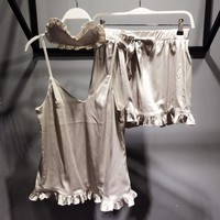 Victoria's Secret Women Silk Satin Eyeshade Shorts Robe Sleepwear Loungewear Set Three-Piece