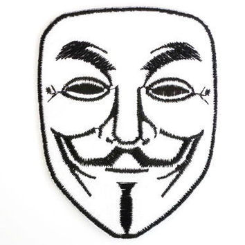 "V Anonymous Guy Fawkes Mask Anarchy Iron On Patch 3.2""/8cm"