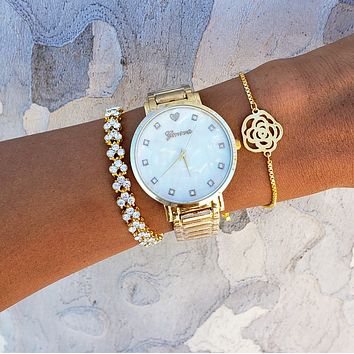 Golden Flower Watch & Bracelet Set