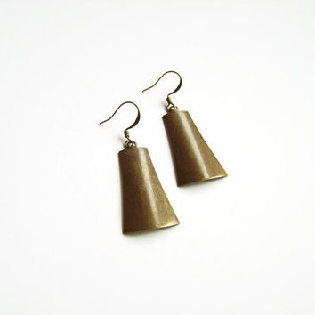 Assymetrical irregular earrings, Antique brass contemporary earrings dangle, Minimalistic earring jewelry, Modern earrings