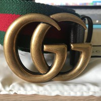Gucci Black Leather and Web Detail double G Buckle Mens Belt AUTHENTIC