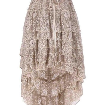 Skirts Womens 2017 Ladies High-Low hemline design Tan Color Amelia Steampunk Ruffled lace Cake Skirt Popular Skirt Free Size