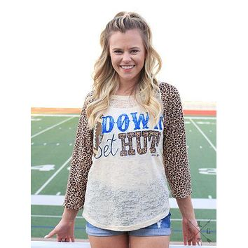 Down Set Hut Leopard Raglan