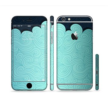 The Aqua Green Abstract Swirls with Dark Sectioned Skin Series for the Apple iPhone 6