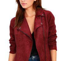 Olive & Oak Highly Desired Wine Red Suede Moto Jacket