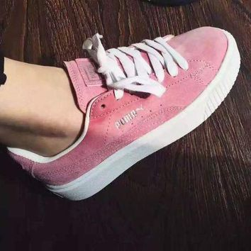 DCCKIJ2 Puma Rihanna Casual Suede Creeper Flatform Shoes Pink White