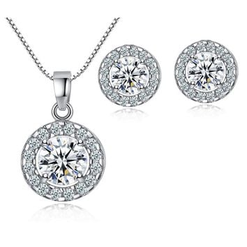 White Gold Halo Necklace Earrings