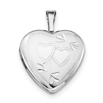 Sterling Silver Rhodium-plated 16mm D/C Double Hearts Heart Locket QLS424