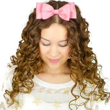 Satin Ribbon Hair Bow Headband Powder Pink
