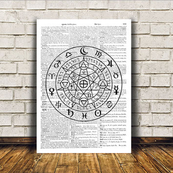 Occult poster Zodiac print Witch art Modern decor RTA162