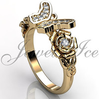 Butterfly Engagement Ring - 14k yellow gold diamond unusual unique butterfly engagement ring, wedding ring, anniversary ring ER-1118-2