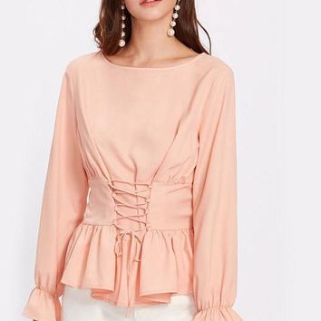 Pink Bell Sleeve Cuff Lace Up Ruffle Blouse Women's Boat Neck Long Sleeve Elegant Top Work Wear Blouse