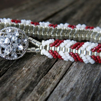 Cranberry Candy Cane - Galvanized Silver White and Red - Chevron Tennis Bracelet - Silver Filigree Button - Glass Seed Bead Woven