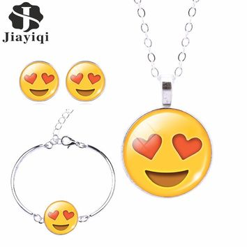 2017 Fashion Women Emoji Jewelry Set Stud Earrings & Moon Pendant Choker Necklace Charm Cuff Bracelets & Bangles joyas de plata