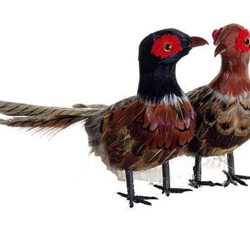 2 Christmas Ornaments - Feathered Pheasants