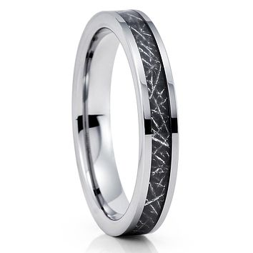 Meteorite Wedding Band - Meteorite Ring - Silver Tungsten - 4mm Tungsten