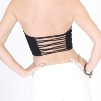bandeau tube top with strappy back