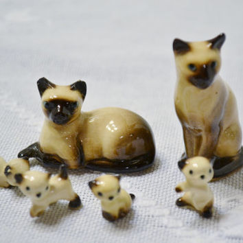 Vintage Miniature Siamese Cat Family Set Figurine Statue Hagen Renaker Collectible PanchosPorch