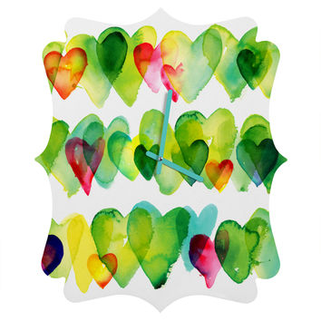 CMYKaren Watercolor Hearts Quatrefoil Clock