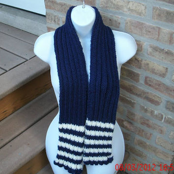 Knit Scarf - Unisex Scarf - Navy and White - Womens Scarf - Mens Scarf - Hand Knit Scarf