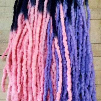 Wool Dreadlocks Custom Wool Dreads Handmade Hippie Dreads Hair Extensions Wool Dreads Ombre Hair Accessories Set of 40