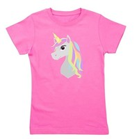 Rainbow Hair Unicorn Girl's Tee