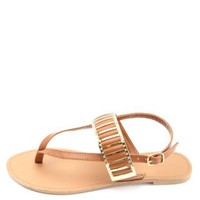 Gold-Plated Gladiator Thong Sandals by Charlotte Russe - Rust
