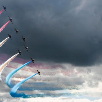 Aviation Photography, Airshow, Moody Sky, Aerobatic Display, Red white and blue, Wall Art, Boys Room Decor.