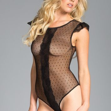 Be Wicked Lingerie Sheer polka dot mesh Bodysuit