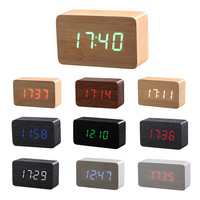New Wood Bamboo LED Alarm Clock,Reloj Despertador Modern Temperature Sounds Control LED Electronic Desktop Digital Table Clocks