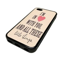 Apple iPhone 5C 5 C Case Cover In Heart With You Little Things Cute DESIGN BLACK RUBBER SILICONE Teen Gift Vintage Hipster Fashion Design Art Print Cell Phone Accessories
