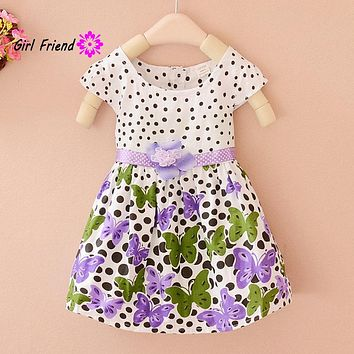 Summer Baby Girls Kids Short Sleeve Dress Polka Dots Butterfly Princess One-piece Dresses