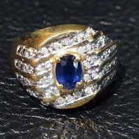 Vintage Ring Sapphire and Diamond Unisex 10K Gold Size 10
