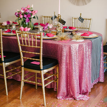 Mauve Sequin Tablecloth | Pink Sequin Table Linen | Pink Soiree