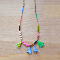 Pink Marble Gemstone Beaded Necklace with Colorful Leather Tassels | Boo and Boo Factory - Handmade Leather Jewelry