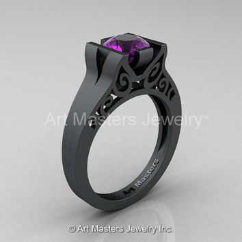 Modern 14K Matte Black Gold 1.0 CT Amethyst Engagement Ring, Wedding Ring R36N-14KMBGAM