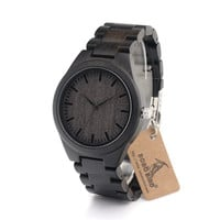BOBO BIRD H05 Brand Design Classic Ebony Wooden Mens Watch Full Leather Wood Strap Quartz Watches as Gift for Men With Gift Box