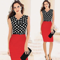 2014 Sexy Summer Dresses Draped Neck Polka Dot Color Block To Wear To Work Party Dress