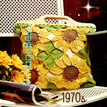 Sunflower Tote Vintage Crochet Pattern 1970s Purse Mod Beach Bag VintageBeso - INSTANT DOWNlOAD - PdF Pattern