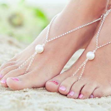 Stylish Ladies Gift Sexy Cute Jewelry Shiny New Arrival Summer Beach Simple Design Pearls Anklet [8080505159]