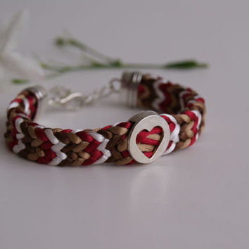 Kumihimo Flat Braided Bracelet, Four Colours Satin Cord Bracelet with Heart Centered Motif in ZigZag Braided Cuff.